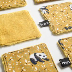 Lingette jaune démaquillante reutilisable lavable ecologique